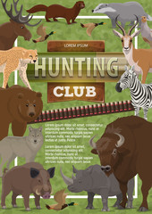 Vector hunting club poster of wild animals