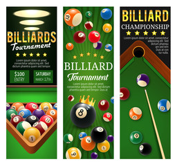 Billiards club championship and tournament banners