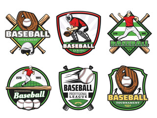 Baseball league sport club and team badge icons