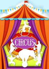 Circus vector paper cut poster design template