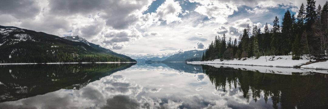 Calm Water Cloud Reflection Panorama at Kachess Lake