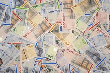 Danish krone . DKK ( 1000, 500, 200, 100, 50 ) Danish krone banknotes )
