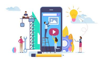 Developer create application. Mobile app development. Cartoon illustration vector graphic on white background.