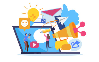Obraz Peoples create social network online marketing content and advertising - fototapety do salonu