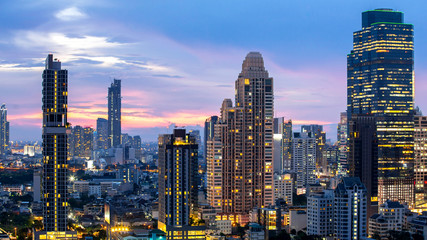 Bangkok City - Aerial view  beautiful sunset  Bangkok city downtown skyline of Thailand , cityscape at night  , landscape Bangkok Thailand