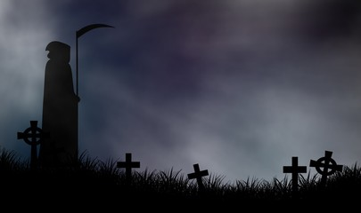 Grimm-reaper standing on graveyard in scary night