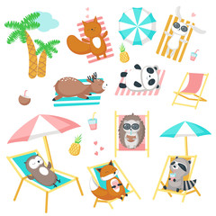 Cute animals taking rest on beach vector icon set