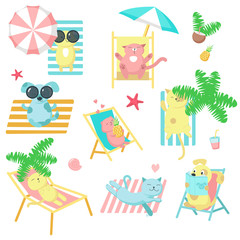Cute pet animals taking rest on beach vector icons