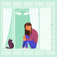 Depressed girl on window sill vector flat design