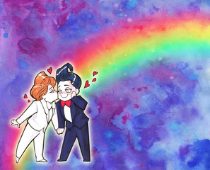 Cartoon anime illustration. Two happy handsome men, just married homosexual couple, 