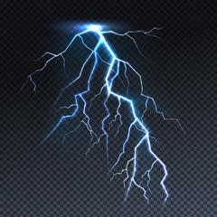 Lightning or thunderbolt light vector illustration. Isolated realistic sky thunderstorm electric spark flash on transparent background