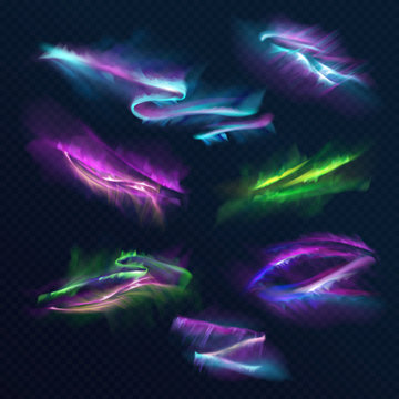 Aurora borealis polar lights vector illustration of northern or southern light shine in night sky. Realistic neon blue, green and purple blur on transparent background