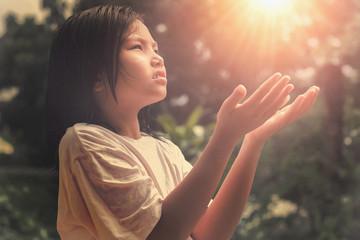 children hands open palm up worship.  Bless God. Pray of hope