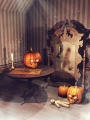 Fototapeta Stary pokój z nawiedzonym lustrem, laleczką voodoo i dyniami na Halloween obraz