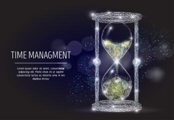 Time management vector geometric polygonal art background