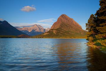 Mount Grinnell at sunrise in the Many Glaciers area of Glacier National Park, Montana, USA