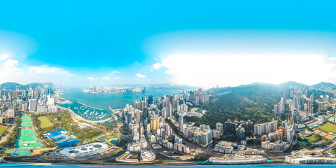 Fototapete - 360 Aerial view panorama cityscape of Hong Kong, China