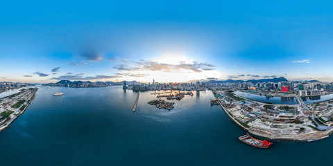 Aluminium Prints Asian Famous Place 360 Aerial view panorama cityscape of Hong Kong, China