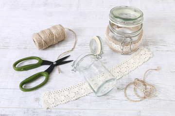 How to make glass jar decorated with lace and string