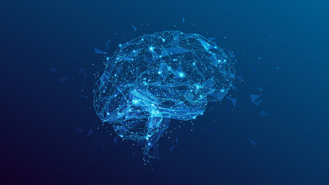 polygonal human brain illustration on blue background