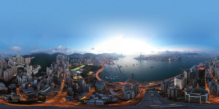 360 Aerial view panorama cityscape of Hong Kong, China