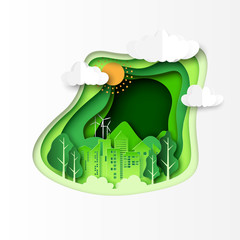 Green ecology and environment concept with urban city and nature landscape paper cut abstract background.Vector illustration.