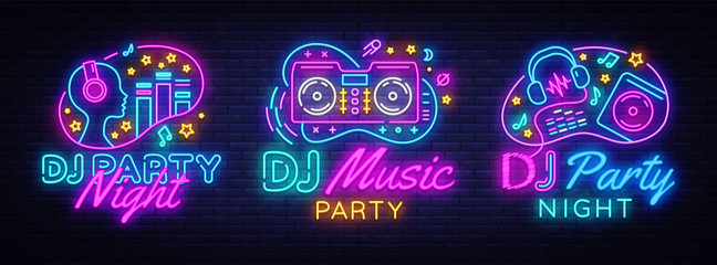 DJ Music Party neon sign collection vector design template. DJ Concept of music, radio and live concert, neon poster, light banner design element colorful, night bright advertising. Vector