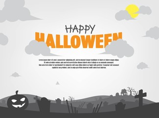 Monochrome Halloween Background. Eerie Shilouette Scenery Illustrations. Papercut Style Vector.