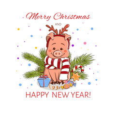 Cute little pig in the New Year's image. Colored Vector illustration.