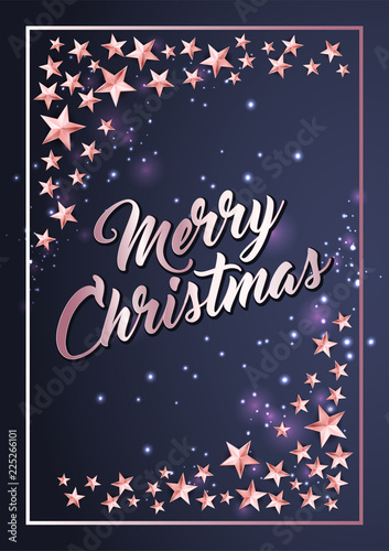 christmas poster card template with stars border stock image and