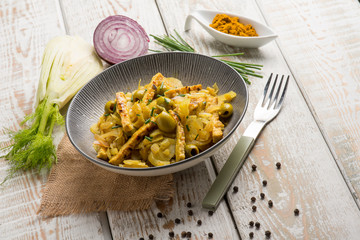 tempeh salad with fennel olives curry and chive