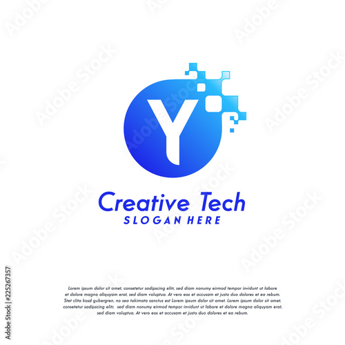 pixel y letter logo designs letter y design vector template with abstract circle pixel