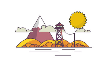 Vector Flat Art landscape outline stroke design, with fire lookout tower in autumn.
