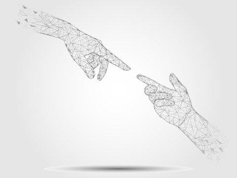 Touching hands vector geometric polygonal art background