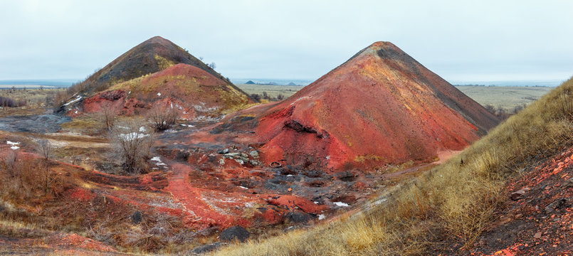 Two big waste heaps near the old abandoned coal mine. Rostov-on-Don region, Russia