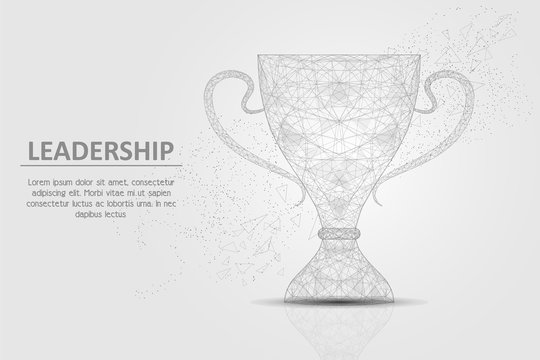 Winner cup vector geometric polygonal art background