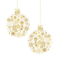 Goldene Weihnachts Christbaumkugeln zusammengesetzt aus Sternen