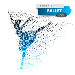 Ballet, dance, girl - dot illustration Vector eps 10