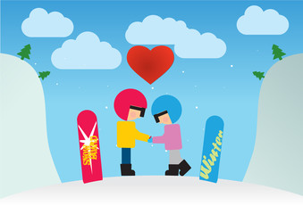 Young happy couple of snowboarders adult boy and girl | Young man and woman in winter ski wear standing holding snowboards wearing on snow mountain landscape background