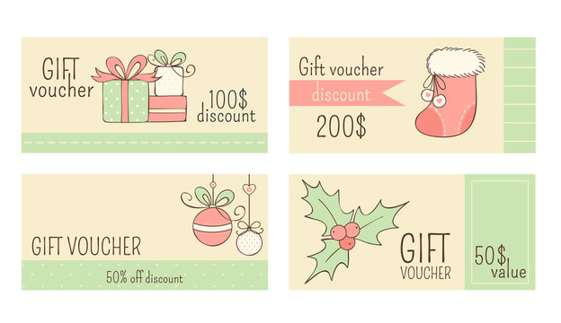 Collection of horizontal Christmas gift vouchers