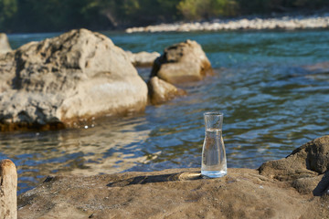 Picture of a glass flask with water.