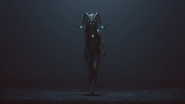 Evil Witch with a Head Dress in a foggy void with a Bad Hair Day 3d Illustration 3d render