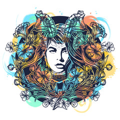Woman and art nouveau flowers tattoo watercolor splashes style t-shirt design