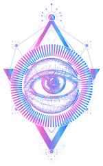 All seeing eye tattoo art vector. Freemason and spiritual symbols. Alchemy, medieval religion, occultism, spirituality and esoteric tattoo and t-shirt design