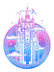Medieval castle tattoo art and t-shirt design. Symbol of the fairy tale, dream, magic