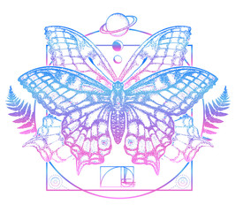 Butterfly in mystical circle t-shirt design. Symbol of magic, renaissance, esoterics, travel, soul. Butterfly tattoo art