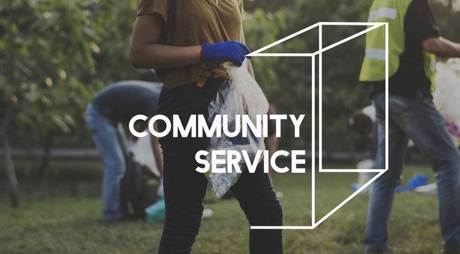 Community service vounteers togetherness teamwork