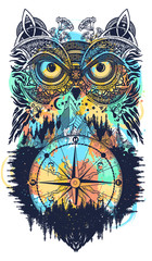 Owl and compass tattoo and t-shirt design. Symbol of meditation, thinking, tourism, adventure, wisdom