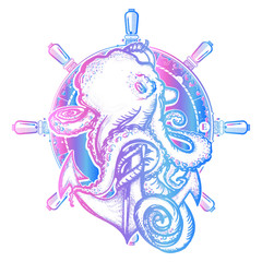 Octopus and anchor tattoo and t-shirt design. Symbol of a sea adventure, ocean