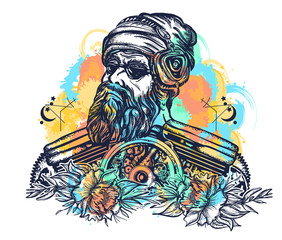 Biker tattoo watercolor splashes style. Bearded hipster in earphone listens to music. Symbol of pop music, hard rock, heavy metal, biker t-shirt design